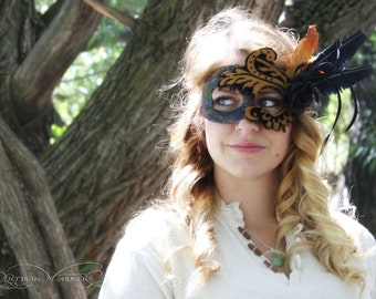 50% OFF!! - Finlay - Renaissance Mask in Black Feathers and Tan Fabric