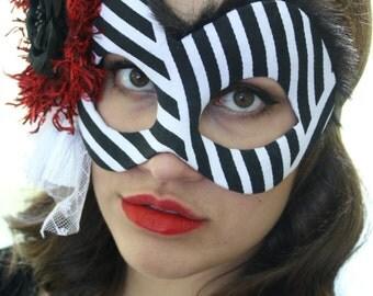 Cruella ~ Disney Inspired Masquerade Mask in Black, White, and Red