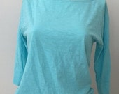 Lilly Pulitzer Pima Cotton T Shirt Aqua Turquoise 3/4 Sleeve Scoop Neck T, Womens Designer T Shirt, Blue Cotton Top size XSmall Small