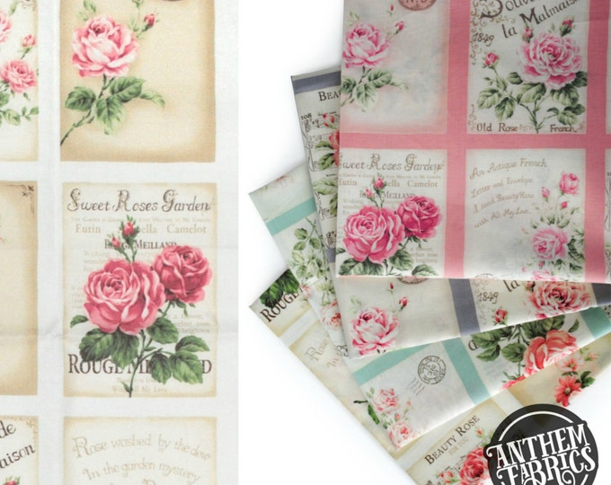 Quilt Gate Rose Bouquet - RURU Rose for You - Postcard QG222011A Cream, 1 panel
