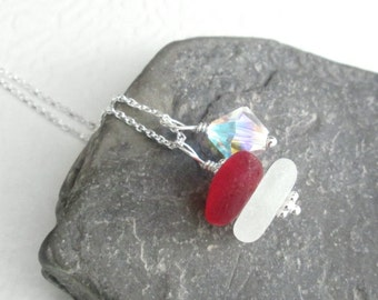 Genuine Red Sea Glass Necklace, Crystal & White Beach Glass Jewelry, Rare Ocean Pendant