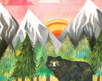 Sunrise Bear Print | Outdoorsy Wall Art | Nursery Decor | Watercolor Painting | Katie Daisy | 8x10
