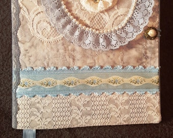 Fabric Covered Journal, Notebook, Diary, Journal, Lace