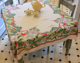 Vintage Tablecloth Fab 50s Family Goes for a Picnic