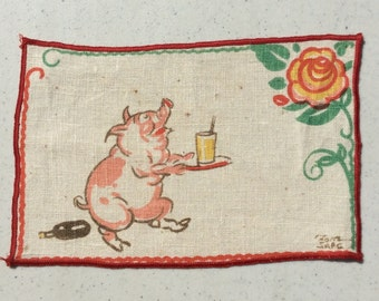 Vintage Textile Tony Sarg Pig is Your Waiter