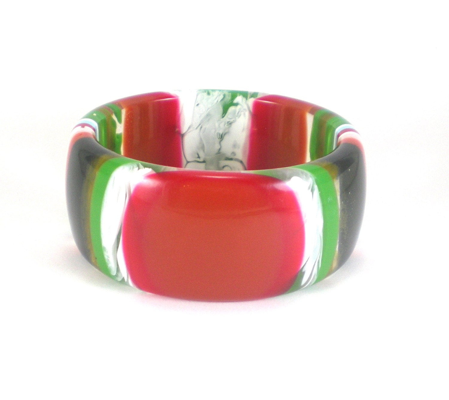 colorful stripe plastic bracelet bangle vintage lucite bold