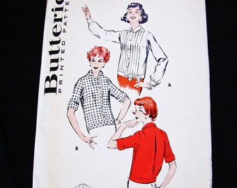 1950s Blouse Pattern, Misses size 18 Bust 38 Butterick Pattern Short Sleeve Blouse or Long Sleeve Chemise Style Shirt Vintage Sewing Pattern