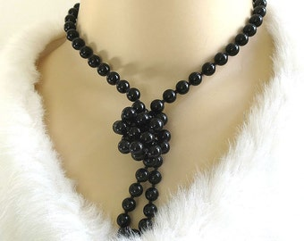 Vintage Beaded Necklace Single Strand Black Glass Beads