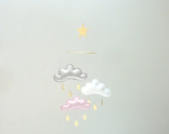 """Mobile """"CANDY"""":White,Grey,Light pink cloud mobile for nursery and gold star by The Butter Flying- Mobile Nursery"""