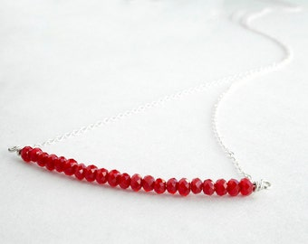 Sterling silver bar necklace - red beaded necklace - delicate silver necklace - sparkly jewelry