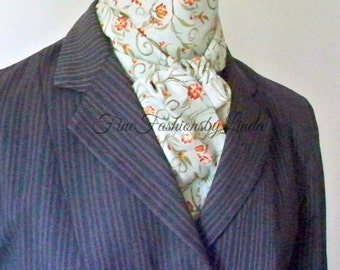 Equestrian Stock Tie,  Woman's Riding Stock, Equestrian Clothing, Aqua Rust, Vine Design, Cotton Fabric