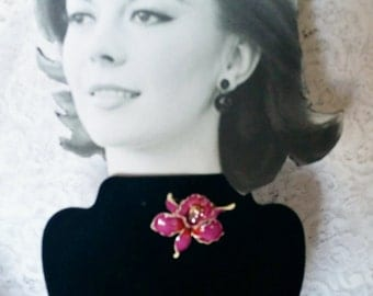 Lovely, Mod, 1960's, Vintage Enamel Orchid Flower Pin, Brooch, Excellent Condition