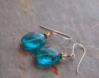 Smoky Quartz and Teal Quartz Earrings