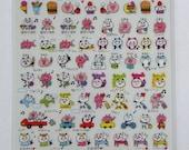 Cute Panda Bear & Pig Plastic Japanese Stickers - Birthday Present, Eating, Singing Karaoke, Shopping, Cinema, Writing Letter, Car, Beer