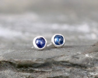 Blue Sapphire Earrings - Sterling Silver Stud Style - Rustic Round - September Birthstone - Freeform Blue Gemstone Earrings - Made in Canada