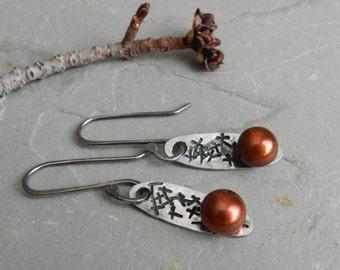 Cross Stamped Sterling Silver and Bronze Pearl Earrings-Handmade-Metalwork-Artisan