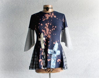 Navy Blue Upcycled Goth Shirt Angel Wings Tattered Clothing Cross Applique Recycled T-Shirt Bleach Dyed Hippie Top Eco Fashion Small 'RENEE'