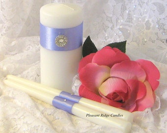 Lilac Unity Candle Set Bling Unity Candle Purple Unity Candle Wedding Candle Ribbon Candle Size & Color Choice Candle Holder Optional