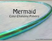 """NEW! 'MERMAiD' CoLoR-CHaNGiNG Polypro Hoop - in 3/4"""" OD and 5/8"""" OD Thin! Free Inside Grip Option & Over 25K Sold!"""