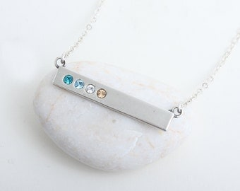 "Silver Bar Necklace with ""Blessed"" on the back, Sterling Birthstone Bar Necklace. Perfect Family Necklace or Mother's Birthstone Necklace!"