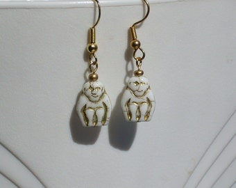 White Baboon Thoth Egyptian Revival Glass Earrings