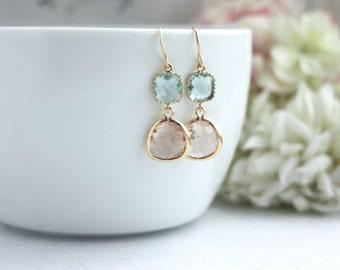 Peach Earrings, Aqua Blue Champagne Peach Earrings. Modern Minimalist Bridesmaids Earrings, Blue Bridal  Gold Plated Glass Pear Drop Dangle