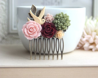 Pink Nature Rustic Woodland Maroon Rose, Olive Green, Ivory Swallow Collage Hair Comb. Vintage Style. Bridal. Bridesmaids Gift. Red Wedding