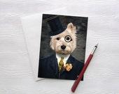 Westie Art Dog Print Westies West Highland Terrier Pet Portrait Animal Art Photography Dog Print Greeting Card - Sir Bunty