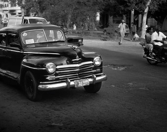 Taxi Havana Cuba  Black and White