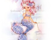 Vintage Mermaid Card Digital Downloads for fabric transfer decoupage pillows tote ocean purple fish mermaid image mermaid picture clipart