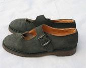 Size 9.5 Vintage Dr Martens Mary Janes Grey Nubuck Suede Shoes UK size 7