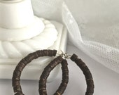 RESERVED for Jasmine Brown Wooden Hoop Earrings, Heishi Hoops