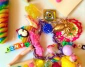 Kawaii Charm Bracelet - Candy Jewelry - Candy Charm Bracelet - Charm Bracelet - Doll Parts Jewelry - Kitsch Jewelry - Plastic Charms