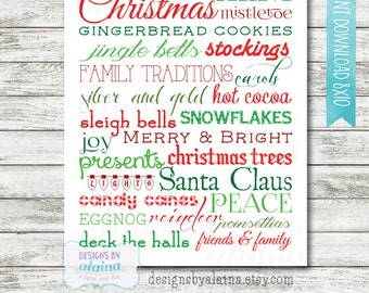 8x10, Christmas Subway Word Art Decor / Red / Green / Typography / Wall Art / Printable / Digital File /  INSTANT DOWNLOAD