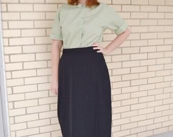 50s black midi skirt, 1950s wool skirt small, vintage garbadine skirt