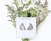 Tiny Leather Feather Studs - Minimalist Jewelry, Gifts for Her