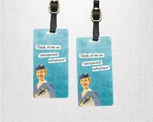 Luggage Tag Set - Printed Personalized Backs Custom Luggage Tag Set - 2 Tags with Straps - Flight Attendant Turbulence Funny Woman