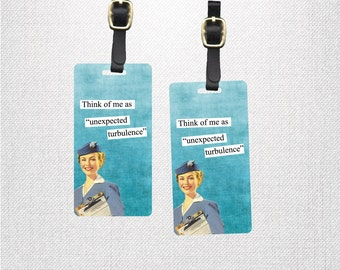 Luggage Tags  - Printed Personalized Backs Custom Luggage Tag  -Single Tag or Set Available  - Flight Attendant Turbulence Funny Woman