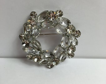 Wedding Wreath Brooch, Clear, Open Back, Juliana DeLizza and Elster, Circle Pin