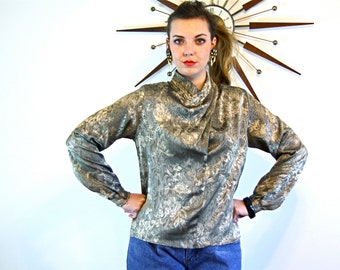 Vintage 80s Metallic Blouse Silver Gold High Collar Big Shoulder Pad Long Sleeve Pleated Puffy 1980s New Wave Silky Shirt by Michelle Stuart