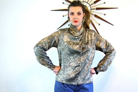Vintage 80s blouse, 80s Metallic Blouse, Silky Silver Gold top, High Draped Collar, Big Shoulder Pad, Puff long sleeve, Floral Lace Print, M