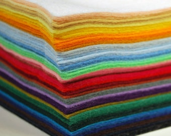 "Premium Wool Blend Felt Sheets - Assorted Color Packs, 9"" X 12"", Multiple Pack Sizes Available"