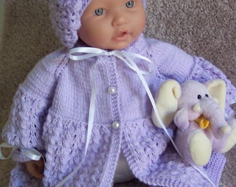 Custom handmade  knit baby girls pretty Lavender Sweater adorable  Beanie Beret hat booties set Layette 0-12M Ready to Ship