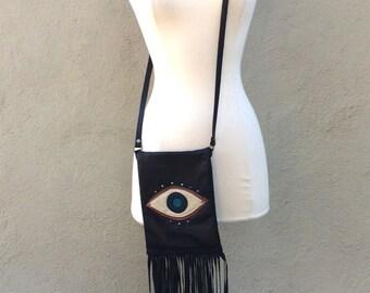Evil Eye Vintage Leather Fringed Cross Body Bag