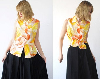 SALE...80s ESCADA Sport blouse. orange yellow summer top. designer top. sleeveless cotton blouse - small, medium
