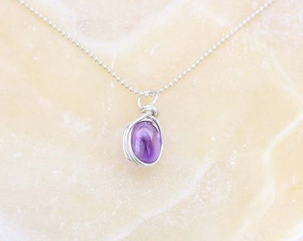 Amethyst Gemstone Necklace, Amethyst Nugget, Gemstone Pendant, February Birthstone Necklace, Pancreatic Cancer Awareness, Alzheimers
