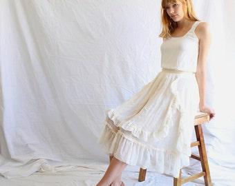 vintage 70s Gunne Sax lace prairie skirt