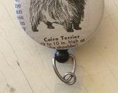 Cairn Terrier Vintage Dictionary Illustration Badge Holder