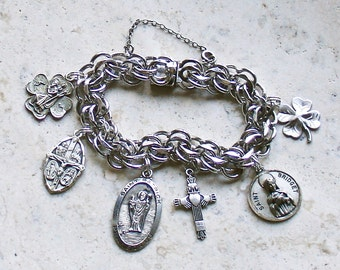 Bless Me I'm Irish...Vintage Forstners Sterling Silver Catholic Medal Bracelet