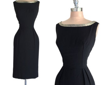 Vintage 1950s 1960s Deadstock Black Rayon Crepe Beaded Neckline Hourglass Cocktail Party Dress M